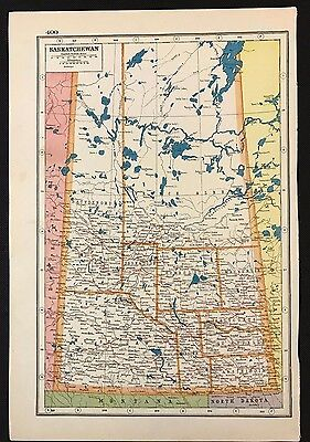 Vintage Map 1920, Saskatchewan, Canada - Harmsworth's Atlas