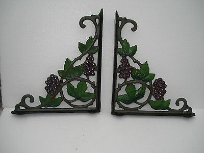 New  Pair Heavy Cast Iron Victorian Grape Design  Shelf Brackets  7.5''x10''