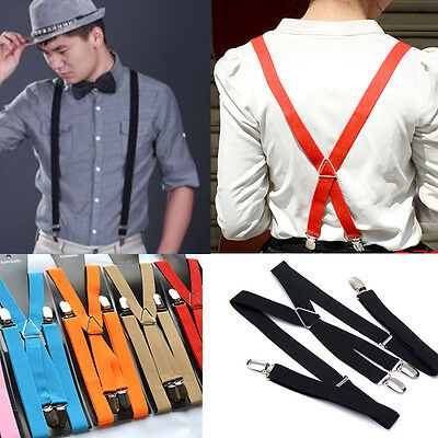 1pc Punk Black Clip-on Suspenders Braces Elastic Y-Shape Adjustable Prom