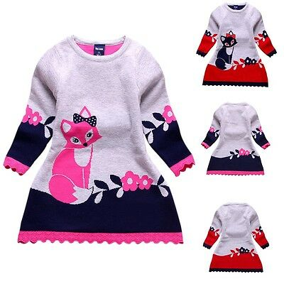 Kids Baby Girl Cartoon Animal Pattern Dress Tops Long Sleeve Casual Clothes