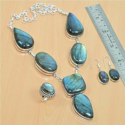 Wholesale 3Pc 925 Silver Plated Labradorite Necklace-Ring-Earring Mix Lot