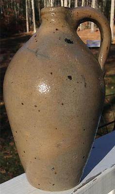 Antique Primitive Semi Ovoid Stoneware Pottery Jug W/ Handle 8 Inches Tall