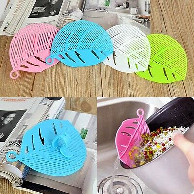 Durable Clip Type Leaf Shape Plastic Rice Washing Sieve Drainer Kitchen Tools