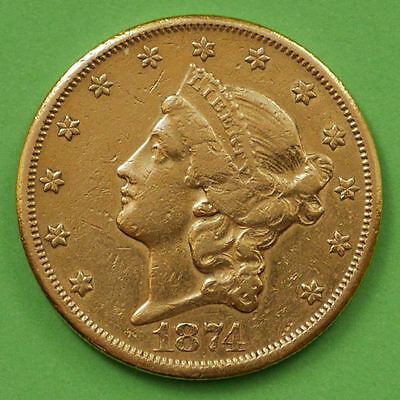 $20 Dollars USA 1874-CC Gold Liberty Head Double Eagle KM #74.2