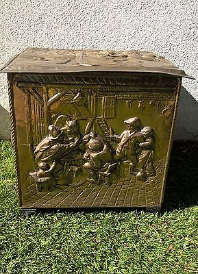 Vintage Antique Brass Emmbossed Coal Box