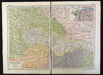 Vintage Map 1920, Czechoslovakia, Inset of Prague - Harmsworth's Atlas