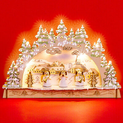 SIKORA LB56 Small LED Wooden Christmas Illumination Arch Engels Battery-Operated