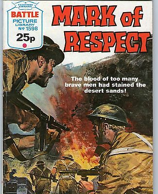 BATTLE Picture Library No 1598 - 'MARK OF RESPECT' War Comic dated 1983