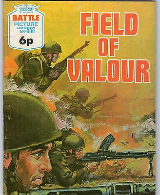 BATTLE Picture Library No 600 - 'FIELD OF VALOUR' War Comic dated 1972