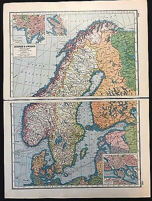 Vintage Map 1920, Norway & Sweden Insets of Bergen Stockham - Harmsworth's Atlas