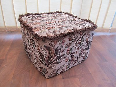 Vintage Pouffe Footstool Retro Floral  Fabric Height 29 cm Seat 42 cm Square