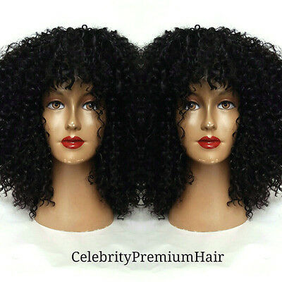 """Curly Bohemian Afro Human Hair Blend (Dome Cap) Wig 12"""" With Bangs"""