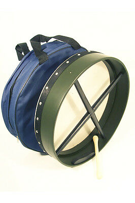"""16"""" Bodhran drum in green Mulberry wood with free bag and tipper"""