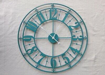 Large Iron Metal Wall Clock French Provincial 76 cm Blue