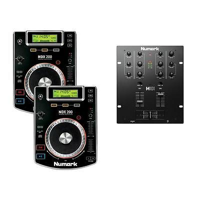 2 x Numark NDX200 CDJ Players with USB and CD M101 Mixer and Headphones