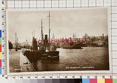 The harbour, Aberdeen lots of ships vintage postcard