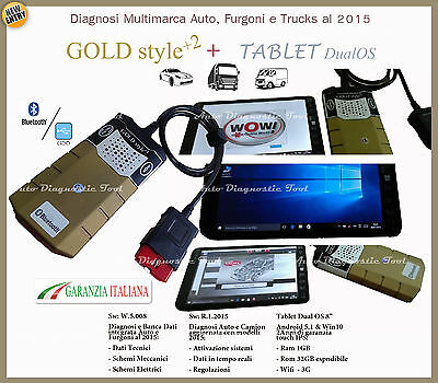 Autodiagnosi Multimarca Gold + Tablet Auto Van E Camion Aggiornabile Garanzia It