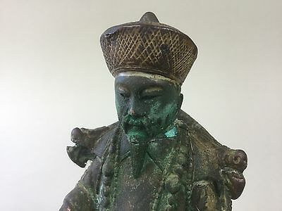 Old Chinese Emperor Figure Seated on a Dragon Throne