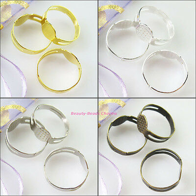 30Pcs Open Rings Circle With Pad Adjusted 18mm Gold Dull Silver Bronze Plated