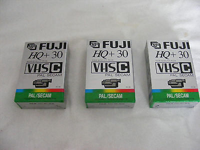 Fuji HQ+30 VHS-C  Video Cassettes New x 3