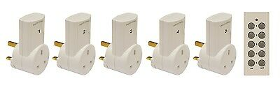 Remote Control Mains Socket Adaptor Set With 5 White Plug In Sockets
