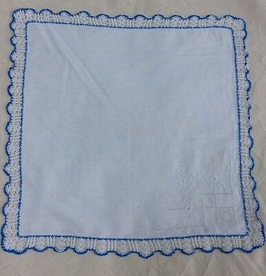Ladies Embroidered Lace Edged Handkerchief