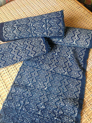 Vintage Hmong hand weaved Style Batik Cotton Fabric Indigo Craft Textile