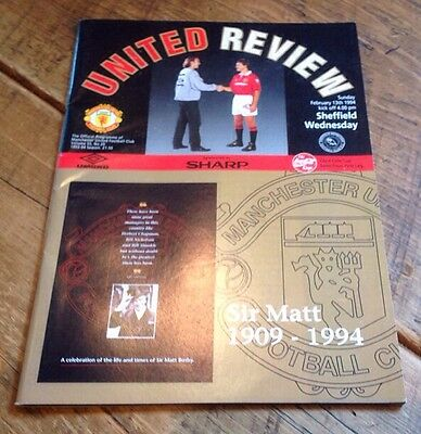 Manchester United v Sheffield Wednesday Coca Cola Cup Programme 1994