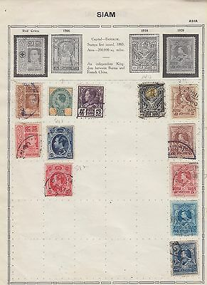 Ls166 Early Stamps From Siam Thialand  On Old Album Page