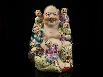 "A 20th c. Chinese Porcelain Budai Figure ""Laughing Buddha & Children""."