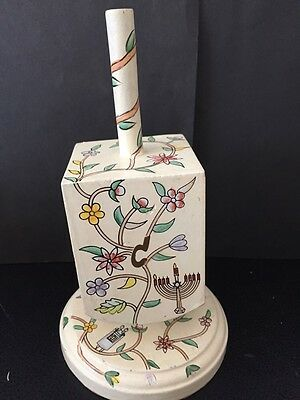 "Judaica Handpainted Dreidel With Stand By R. Rashi 7 1/4"" Tall--Jerusalem"