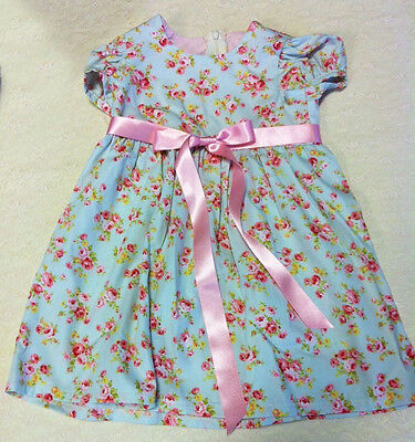 Handcrafted blue floral girls dress, age 1, individually made for you in the UK