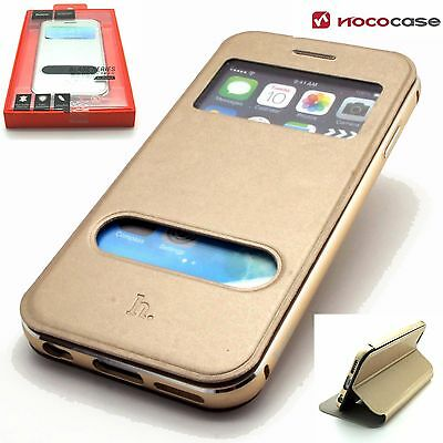 APPLE iPHONE 6 6S - HOCO BLADE LEATHER WALLET & METAL BUMPER CASE IN BOX - GOLD