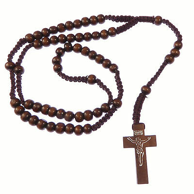 Wood wooden dark brown long cord rosary beads necklace