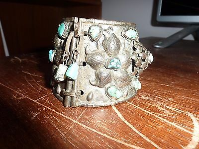 Antique Chinese (?) Asian Silver Turquoise Cuff Bracelet Tribal