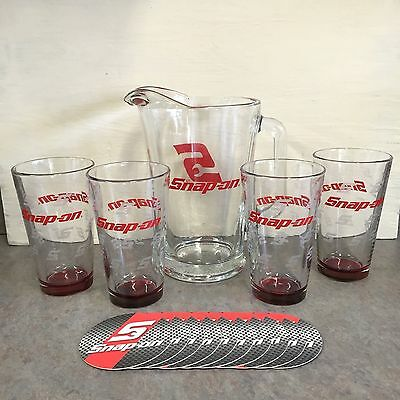 Snap On Tools Beer Pitcher 4 Glasses & 10 Coasters Complete Bar Ware Set - NEW