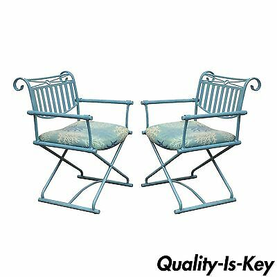 Pair of Vintage Hollywood Regency X Form Blue Iron Curule Directors Arm Chairs B