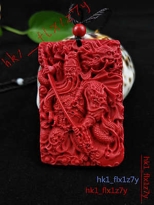 Chinese Fashion Cinnabar Dragon Necklace Pendant Guangong Lucky Amulet Hot