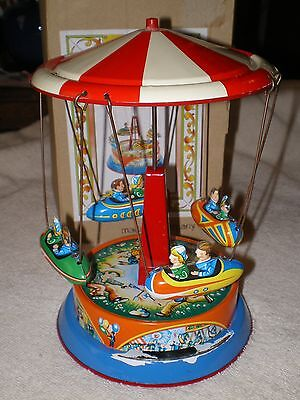 Red & White Carousel Tin Toy, with box, W. Germany, Repro of 1950's