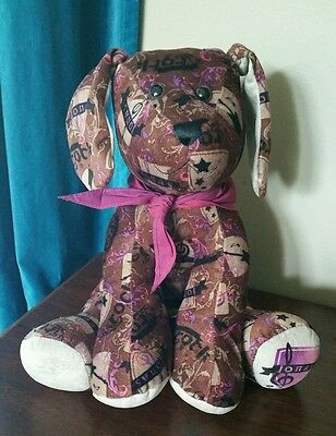 Jonas Brothers plush puppy dog frm Build A Bear purple with Rock It logo RETIRED