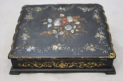 Vintage Black and Mother of Pearl Wooden Travel Writing Bureau Case  - 250