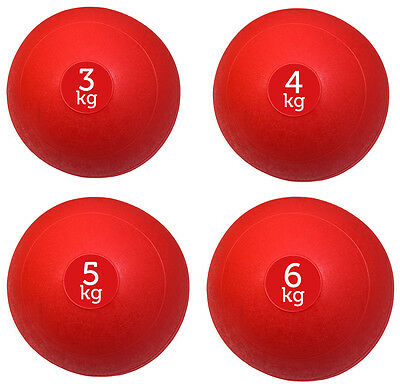 Set Of 4 Red Fxr Sports No Bounce Slam Balls Ball Fitness Gym (3, 4, 5 & 6Kg)