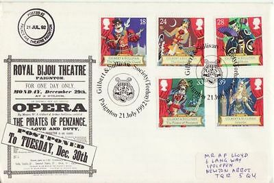 1992 Gilbert & Sullivan Stamps Paignton OFFICIAL First Day Cover (e67055)