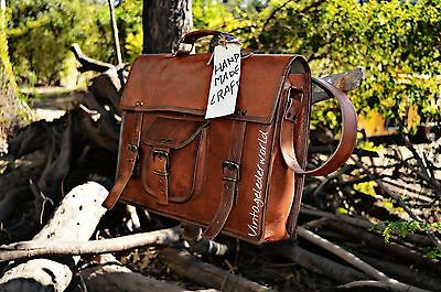 Genuine Vintage Leather Messenger Shoulder Laptop Bag Leather Bag handmade craft