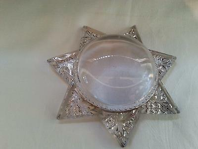 Antique Glass STAR  PaperweightMagnifying Glass, Photo Frame OLD!!