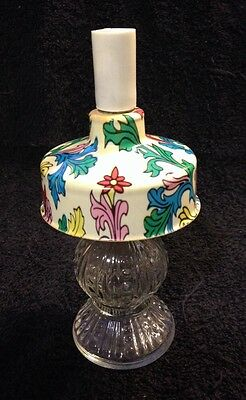 Vintage Glass Candy Container Oil Lamp With Psychedelic Shade/ Dr Seuss?