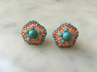 NEW! AUTHENTIC Miguel Ases Coral Turquoise Beaded Earrings