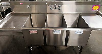 Stainless Steel 3 Compartment Sink with Two Drainboards Commercial Kitchen