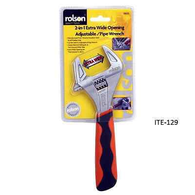 Rolson 19025 2-in-1 Extra Wide Adjustable Wrench, 200 mm