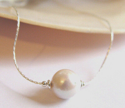 """11mm GENUINE NUCLEATED BAROQUE CULTURED PEARL STERLING SILVER NECKLACE 20"""" BOXED"""